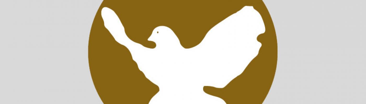 Friedenstaube in braunem Kreis